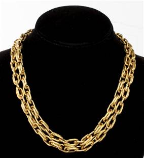 Vintage 18K Yellow Gold Long Link Chain Necklace
