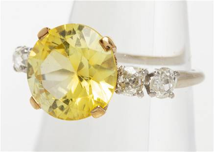Antique 14K Yellow Stone & Diamond Ring