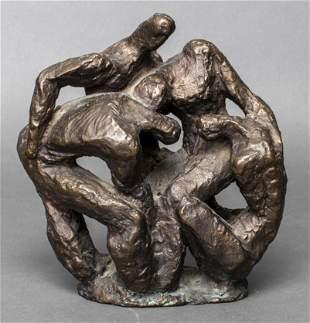 "Brutalist ""Four Figures"" Modern Bronze Sculpture"