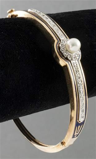Art Deco 14K Gold, Diamond, Pearl Enamel Bracelet