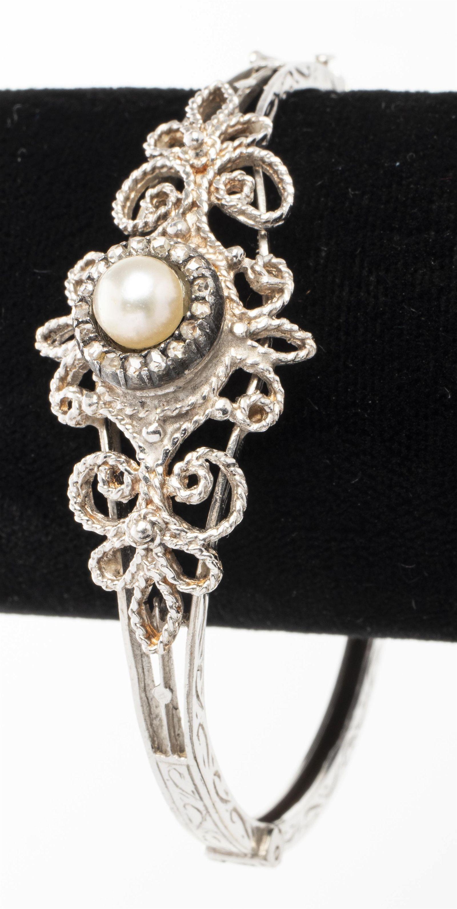 Edwardian 14K Gold Pearl & Diamond Bangle Bracelet
