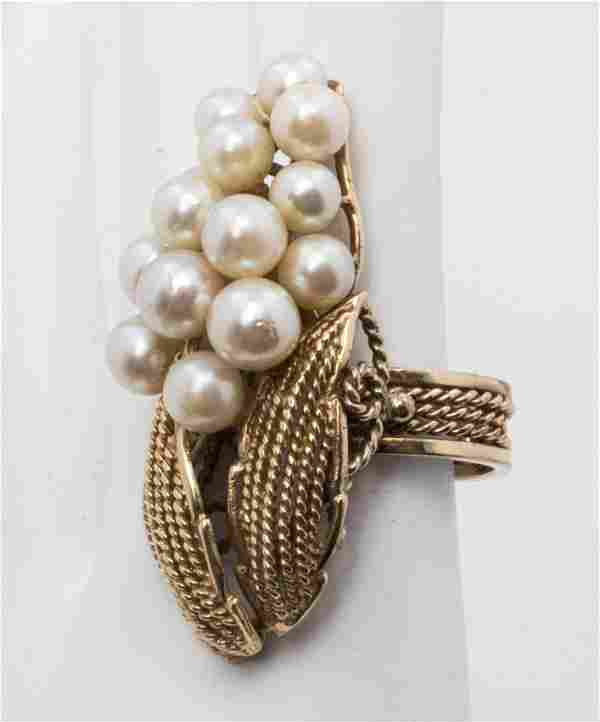 Large Vintage 14K Yellow Gold Cluster Pearl Ring