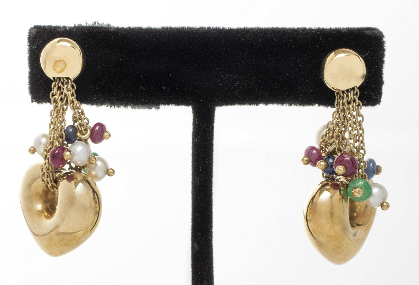 14K Ruby, Sapphire, Emerald & Pearl Heart Earrings