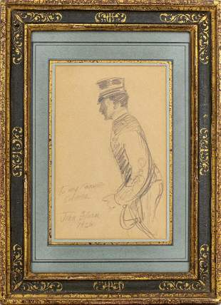 """John Sloan """"Sketch of a Soldier"""" Pencil Drawing"""