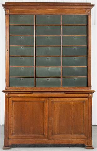 Monumental American Oak Cartonnier Cabinet