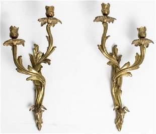 Louis XV Style Gilt Bronze Sconces, Pair