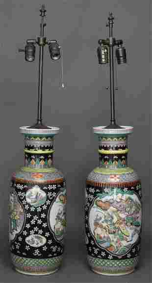 Chinese Famille Noir Porcelain Table Lamps, Pair