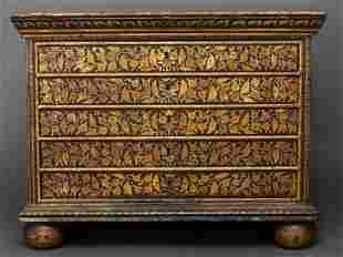 Baroque Style Ebonized Chest of Drawers