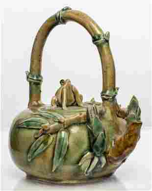 """Chinese """"Frog & Bamboo"""" Crackle Glaze Teapot"""
