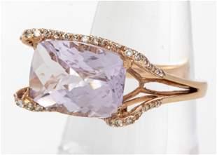 14K Rose Gold, Kunzite & Diamond Cocktail Ring