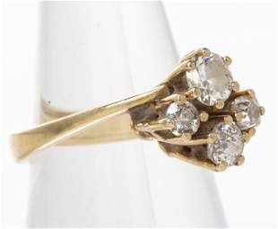 Vintage 18K Yellow Gold & Diamond Ring