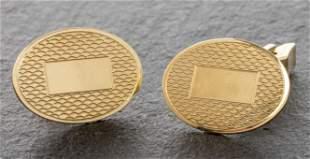 Art Deco 14K Yellow Gold Oval Monogram Cufflinks