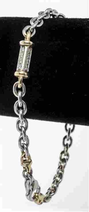 Italian 14K White & Yellow Gold Diamond Bracelet