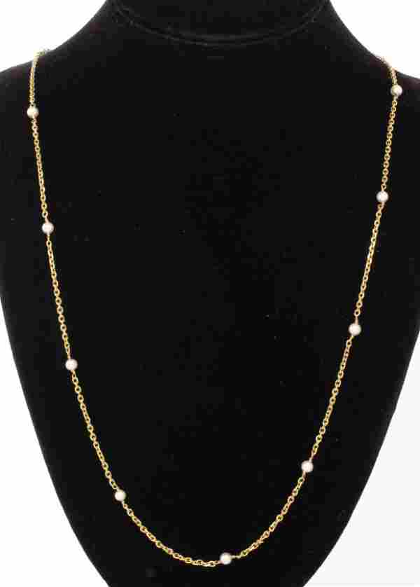 18K Yellow Gold & Cultured Pearl Chain Necklace