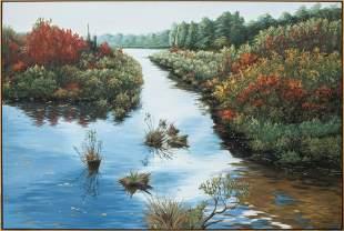 """Richard Mizdal """"Ancient Inlet"""" Large Oil on Canvas"""