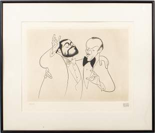 "Al Hirschfeld ""Sinatra & Pavarotti"" Etching"
