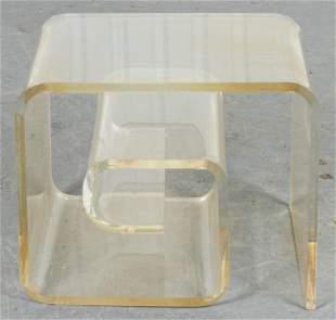 "Modern Lucite ""Snail"" Side Table"