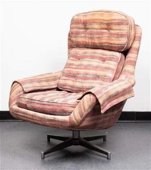 Mid-Century Modern Upholstered Swivel Lounge Chair
