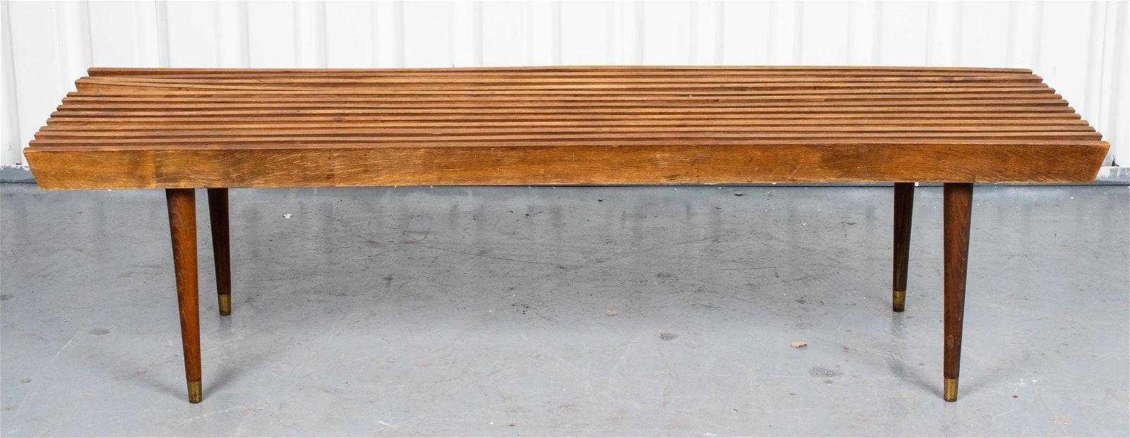 George Nelson Style Teak Slat Bench / Table