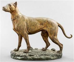 Paul-Édouard Delabrièrre Signed Bronze Dog