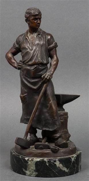R. Kaesbach Signed Bronze Blacksmith Sculpture