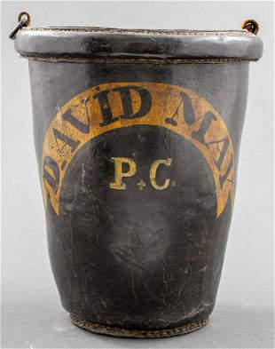 English Painted Leather Fire Bucket