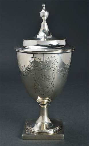 John Vernon Coin Silver Covered Sugar Urn 18th C.