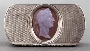 English Silver & Agate Cameo Snuff Box, 1816