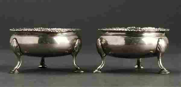Hester Bateman English Sterling Silver Salts, Pair