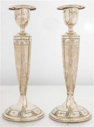 """Wallace """"Rose Point"""" Weighted Silver Candlesticks"""