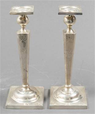 Sterling Silver Candlesticks with Engraving, Pair