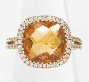 18K Yellow Gold, Diamond, & Citrine Ring