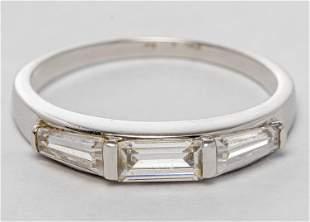 Art Deco Style 14K White Gold & Stone Ring