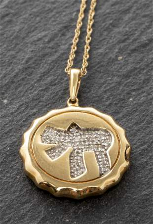 "14K Gold & Diamond ""Chai"" Pendant Necklace"