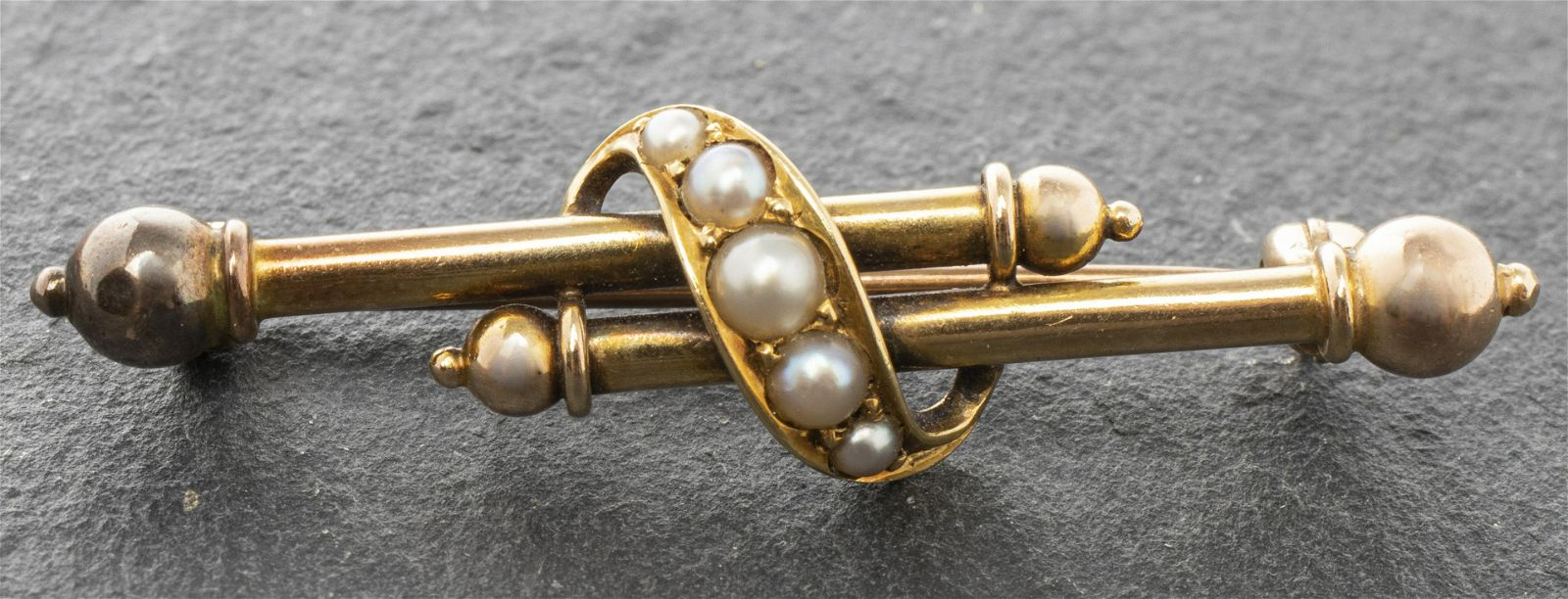 Victorian 14K Yellow & Rose Gold Seed Pearl Brooch