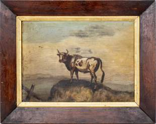 """""""Bull on the Mountain"""" Antique Oil on Panel"""