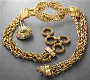 Gianfranco Ferre Gold-Tone Rope & Chain Link Belt