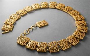 Nina Ricci Attributed Gold-Tone Logo Belt