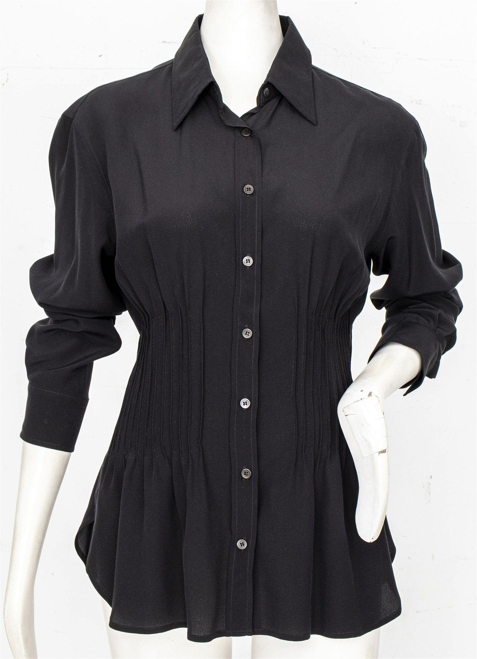 Yves Saint Laurent Black Silk Blouse, Size 42