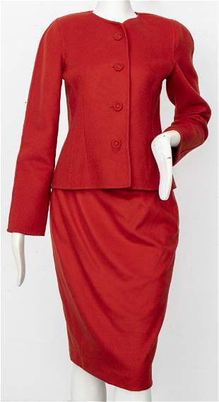 Oscar De La Renta Red Wool / Cashmere Skirt Suit