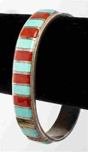 E. Peina Navajo Turquoise & Coral Bangle Bracelet