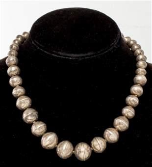 Navajo Silver Desert Pearl Bead Necklace
