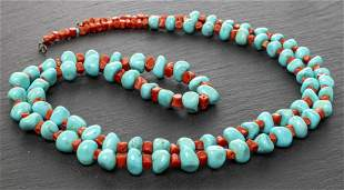 Native American Turquoise & Coral Bead Necklace