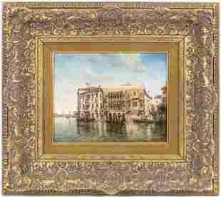 "D. Leonard ""Venice"" Oil On Panel"