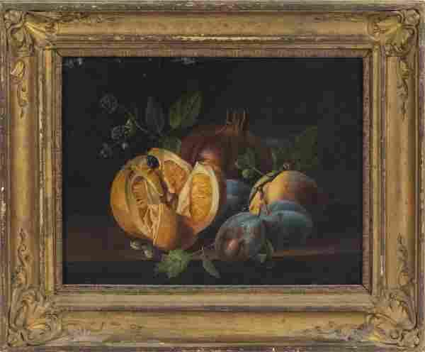 Continental School Fruit Still Life Oil On Canvas