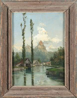 Alpine Landscape with Lake Oil on Canvas