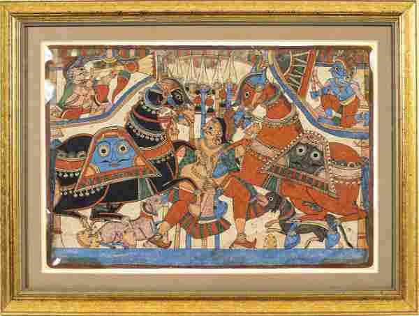 Indian Watercolor Paithan Manuscript Illustration