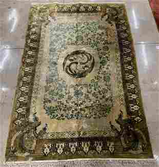 Chinese Ningxia Pictorial Temple Carpet, 9' x 6'