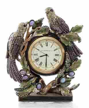 Jay Strongwater Enamel Desk Clock With Bird Motif