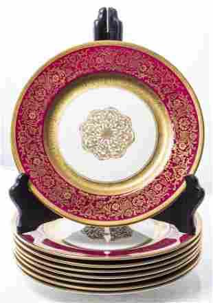 Edgerton Cranberry & Gilt Porcelain Dinner Plates